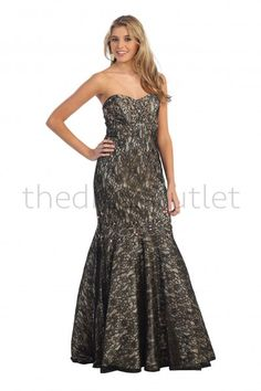 Empire Waist Party Rouched Long Formal Strapless Gold Mermaid Bottom Prom Dress