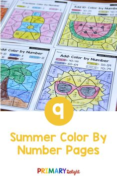 Summer color by number math worksheets are a fun way for kids to practice addition and subtraction in first grade. Use these printable pages for morning work for students or for early finishers in the classroom or homeschool setting. Summer color by number sheets include the beach, sailing, sun, and summer foods - perfect for this summer! Kids practice addition and subtraction to 20 , place value and fractions. #SummerMath Place Value Blocks, Place Values, Addition Games, Addition And Subtraction, Math Stations, Math Centers, Teaching Subtraction, First Grade Classroom, Math Practices