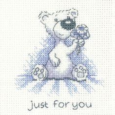 click here to view larger image of Just For You - Justin Bear Cards (counted cross stitch kit)