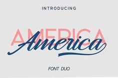 Hangberd America Duo (Font) by Zane Studio · Creative Fabrica Typography Letters, Typography Logo, Lettering, Logos, Script Logo, Handwritten Fonts, Cool Fonts, New Fonts, Logo