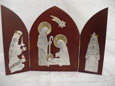 Christmas Nativity Scene, Christmas Crafts, Xmas, Nativity Scenes, Catholic Crafts, Metal Embossing, O Holy Night, Parchment Craft, Bobbin Lace