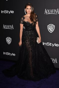Nina Dobrev in Zuhair Murad at the InStyle and Warner Bros Golden Globes party