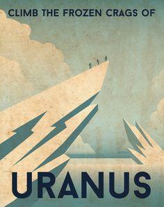 Poster di viaggio planetario retrò di Urano