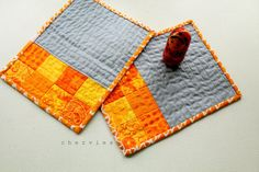 Quilted mini placemats set small mug rug drink coaster by chezvies