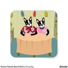 Boston Terrier Boy & Girl Square Sticker