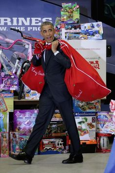President Barack Obama teams up with Toys for Tots