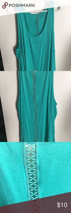 Green tank top with crochet back. 3X. NWOT Soft and comfy. Great for spring break. Tops Tank Tops