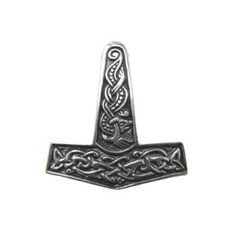 Handmade in Scotland - The Jorvik Thor's Hammer is a modern take on the classic hammer of the Viking period. The shaft is detailed with a design from a carved cross from the Isle of Man and depicts a Jelling style dragon. The design on the head of the hammer is taken from a bone trial piece found in the Coppergate excavations, York. It shows a typical style knotwork from the vikin