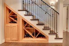 Make use of all the space under your stairs by turning it into #wine storage. http://www.christianbroscabinets.com/galleries/custom-cabinets-and-storage-ideas-for-basements.html#prettyPhoto