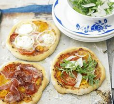 Home made individual pizza's. Why not use a pita pocket for the base, and let the kids create their own?