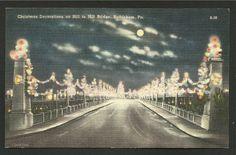 Vintage Linen Postcard - Christmas Decorations on Hill to Hill Bridge in Bethlehem,  Pennsylvania  (1477)