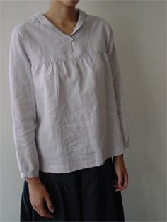 Shawl collar blouse with long sleeves LINNET Japanese Pattern