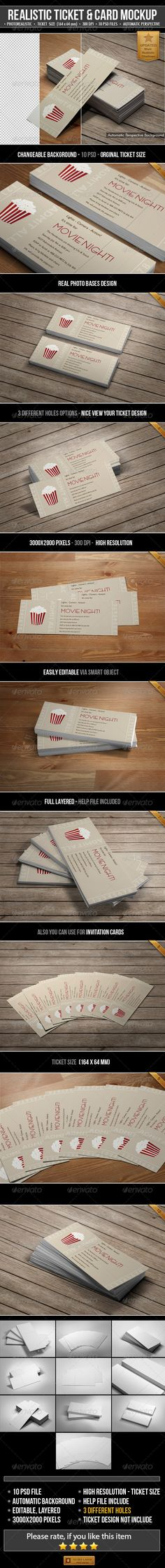 Realistic Ticket & Card Mockup Download here: https://graphicriver.net/item/realistic-ticket-card-mockup/6219400?ref=KlitVogli