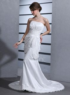 Trumpet/Mermaid Sweetheart Court Train Taffeta Wedding Dress With Ruffle Lace Beading (002000100) http://www.dressdepot.com/Trumpet-Mermaid-Sweetheart-Court-Train-Taffeta-Wedding-Dress-With-Ruffle-Lace-Beading-002000100-g100 Wedding Dress Wedding Dresses #WeddingDress #WeddingDresses