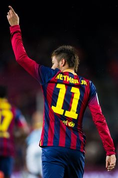 Neymar Santos Jr Photos - Neymar Santos Jr of FC Barcelona celebrates after scoring the opening goal during the La Liga match between FC Barcelona and RC Celta de Vigo at Camp Nou on March 2014 in Barcelona, Spain. - FC Barcelona v RC Celta de Vigo Football Is Life, Football Fans, Football Players, Messi And Neymar, Lionel Messi, Fc Barcelona, Barcelona Catalonia, Psg, Bufoni