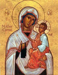 Fecioara Maria de pe Muntele Carmel în reprezentare Odighitria (Îndrumătoarea) şi nu Glykofilusa (Dulcea Sărutare), care este reprezentarea obişnuită pentru această icoană. /-/-/ Our Lady of Mount Carmel shown as Hodegetria (Directress), and not as Glykophilousa (Tender Kiss), which is the typical rendition. Black scapular instead of brown.