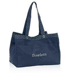 Soft Utility Tote Navy Dancing Dot