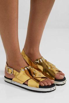 Marni - Laser-cut Metallic Leather Sandals - Gold - IT Leather Espadrilles, Leather Ballet Flats, Leather Loafers, Leather Sandals, Leather Boots, Leather Buckle, Metallic Leather, Block Heel Loafers