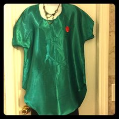 Green silky one rose blouse#7 Silky soft green top with one rose design, loose fit,u can actually use it out also, Intimates & Sleepwear