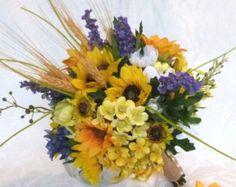Sunflower bridal bouquet silk flower wedding bouquet set Rustic bouquet sunflower and wheat bouquet