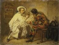 Couture, Thomas (1815-1879)  Harlequin and Pierrot, c. 1857. Oil on canvas,