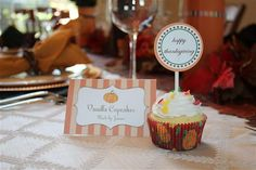 Vanilla cupcakes at a Thanksgiving party!  See more party planning ideas at CatchMyParty.com