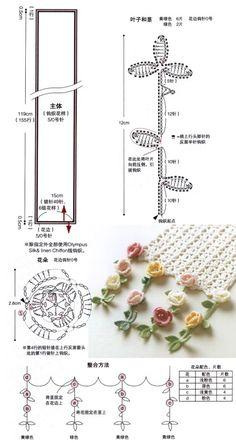 How to Crochet Wave Fan Edging Border Stitch Crochet Leaves, Thread Crochet, Crochet Flowers, Crochet Stitches, Crochet Motif Patterns, Crochet Diagram, Diy Crafts Crochet, Crochet Ideas, Japanese Crochet