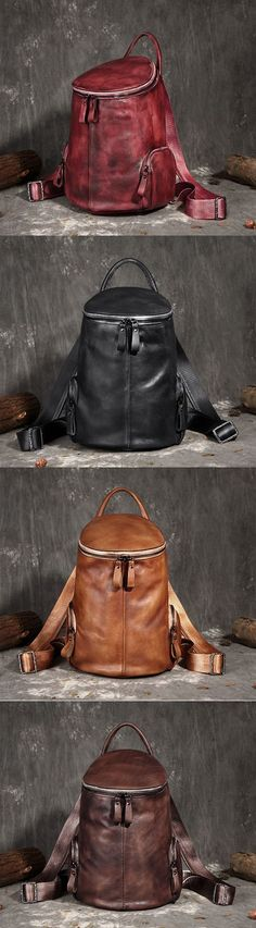 Vintage Handmade Leather Designer Backpack, Women Handbags FY7226