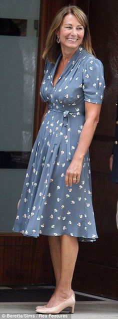 910ffab4e2 Carole Middleton wears chic Orla Kiely dress to meet her grandson