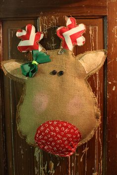 diy Reindeer Burlap Door Hanger with green bowknot - ribbon and fabric, chevron, button, wire - reindeer: Are you getting enough diy burlap owl door hanger to show? By sanneun - LoveItSoMuch Burlap Christmas, Christmas Sewing, Christmas Door, Merry Little Christmas, Winter Christmas, All Things Christmas, Christmas Holidays, Christmas Wreaths, Christmas Decorations