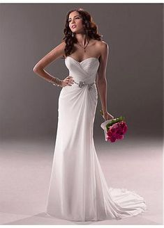Stunning Chiffon & Satin Sheath Sweetheart Neck Natural Waistline Beaded Wedding Dress