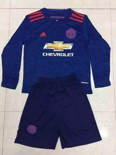 16/17 Manchester united away long sleeve kids kit. POGBA soccer jersey