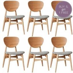 Set of 6 Light Grey Ash Potter Dining Chairs