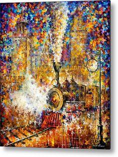 Last Train - Palette Knife Oil Painting On Canvas By Leonid Afremov Metal Print By Leonid Afremov