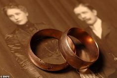 """Wedding rings belonging to Carl & Selma Asplund. The Asplund's were traveling on Titanic with their 5 children.  Selma and 2 of their children, 5 year old Lillian and 3 year old  Felix survived. Carl and the other 3 boys were lost.  Carl's body was recovered 12 days later. The bodies of the other 3 children were never found.  Carl's wedding ring was found in his pocket.  After their daughter Lillian's death, her parents rings were found in a box along with other memento's from the Titanic."""