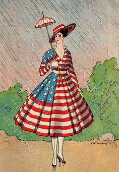 Patriotic outfit, c. 4th Of July Celebration, Fourth Of July, Vintage Postcards, Vintage Images, Vintage Cards, Patriotic Images, Patriotic Posters, Yankee Doodle Dandy, Flag Dress