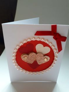 3d Hearts Aperture Card Rose Gold £2.50