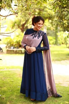 Label'M Presents Midnight Blue Anarkali Gown Applique . Colors may be minor vary from what was mentioned because of different screen resolution. Indian Designer Outfits, Designer Gowns, Stylish Dresses, Fashion Dresses, Gown Party Wear, Mens Party Wear, Kurti Designs Party Wear, Kurta Designs, Blouse Designs