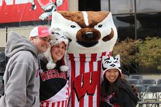 Photo op with Bucky Badger at Union South.