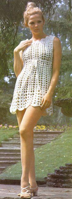 1970's Crochet Mini-Dress: vintage pattern