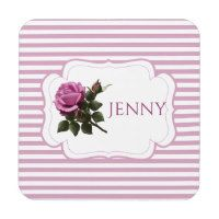 Girly Magenta Purple Rose Flower Coaster