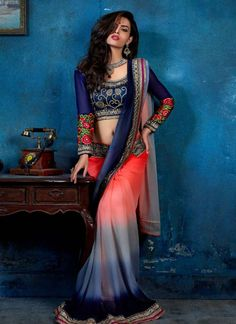 Blue shaded all over saree