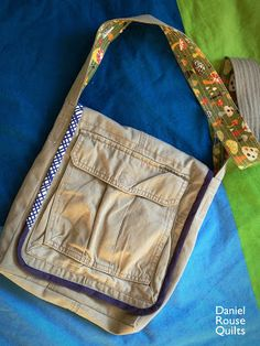 Piece and Press: Little Things, awesome nature study bag upcycled from cargo pants, I would add a specific pocket for their water bottles