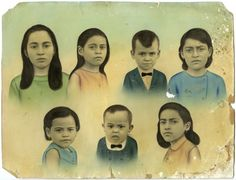Brazillian family portrait, embellished with a layer of colorful, hand-painted oil wash, mid 20th century