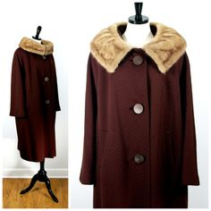 Chocolate Brown Coat with Light Ranch Mink Collar 1960s Vintage Bobby Burns, Vintage Warm Winter Mink Fur Collar Coat, Size L/XL Volup