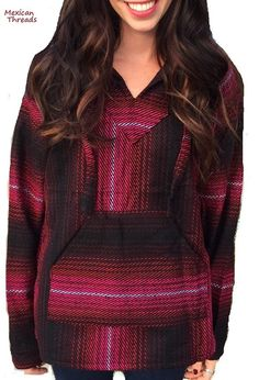 Mexican Threads Baja Hoodie Drug Rug Pullover Sweatshirt / Gypsy Jacket / Hippie Poncho Wine Pink Red S-XL by OrvinApparel on Etsy https://www.etsy.com/listing/210879682/mexican-threads-baja-hoodie-drug-rug