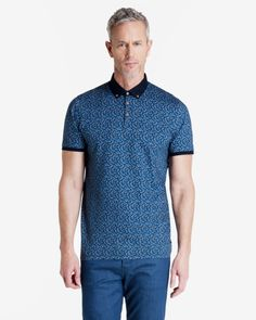 Printed floral polo shirt - Blue | Tops & T-shirts | Ted Baker UK