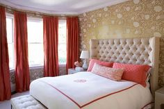 Coral Wingback Headboard - Design photos, ideas and inspiration. Amazing gallery of interior design and decorating ideas of Coral Wingback Headboard in bedrooms, girl's rooms, entrances/foyers by elite interior designers - Page 2 Gold Bedroom, Dream Bedroom, Master Bedroom, Bedroom Decor, Pretty Bedroom, Master Suite, Bedroom Bed, Bedroom Colors, Beautiful Interior Design