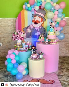 Linda festa no tema Mundo Bita! Birthday Party Decorations, Party Themes, Birthday Parties, Candy Themed Party, Baby Shower Deco, Party World, Balloon Cake, Barbie, Gold Party
