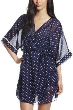Cinema Etoile Women's Kate Polka Dot Molded Cup Babydoll Kimono Wrap Robe Set on shopstyle.com